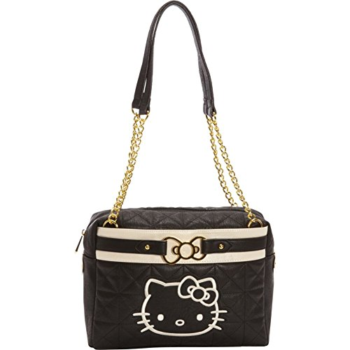 Loungefly Hello Kitty Quilted Bag with Metal Bow (Black/cream)