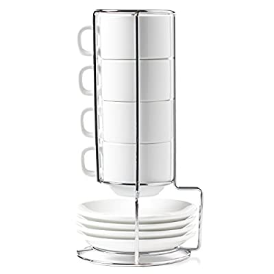HUJI Stack-able Porcelain 4 Ounces Espresso Turkish Coffee Cups and Saucer with Chrome Rack