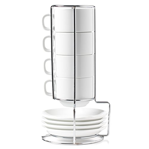HUJI Stack-able Porcelain 4 Ounces Espresso Turkish Coffee Cups and Saucer with Chrome Rack (1)