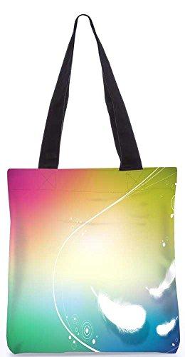 """Snoogg Weiße Feder-Einkaufstasche 13,5 X 15 In """"Shopping-Dienstprogramm Tragetasche Aus Polyester Canvas"""