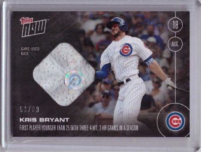 2016 Topps Now #370-B Kris Bryant Game Used Base Relic Baseball Card - 1st Player Younger Than 25 w/ Three 4-Hit, 2-HR Games in a Season - Only 99 made!