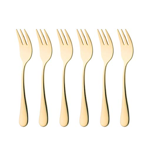 (6 Piece Gold Oyster Fork 5.5-inch Stainless Steel Cocktail Cake Forks Set for 6 Silverware Flatware Cutlery Utensils Dinnerware Mirror Polished Dishwasher)
