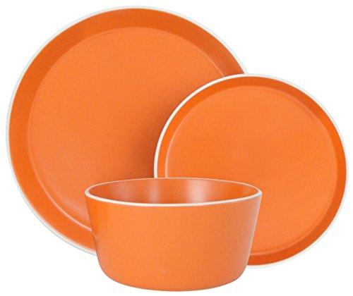(Melange Stoneware 36-Piece Dinnerware Set (Moderno Orange) | Service for 6| Microwave, Dishwasher & Oven Safe | Dinner Plate, Salad Plate & Soup Bowl (12 Each) )