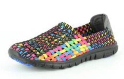 Heavenly Feet Stomp–Mesdames Femme Chaussures à enfiler Confort stretch noir/multicolore