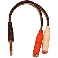9in 1/4 1/4 Inch Stereo TRS Male to 2 X 1/4 Inch Female Mono Y Splitter Cable
