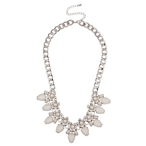 Lux Accessories Floral White imitation Pearl Flower Chain Link Statement Necklace (Necklace Pearls Imitation Floral)