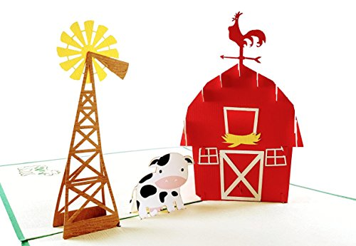 iGifts And Cards Cow Barn 3D Pop Up Greeting Card - Animals, Windmill, Farm, Cattle, Dairy, Sun, Wow, Fun, Half-Fold, Happy Birthday, Just Because, Thinking of You, Retirement, Thank You, Friendship