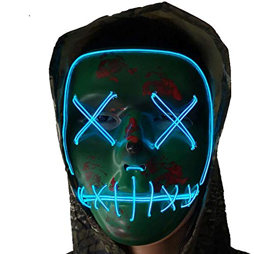 A-MORE Halloween Mask Cosplay LED Glow Scary EL Wire Light up Grin Masks Festival Parties Costume (LED mask Blue) -