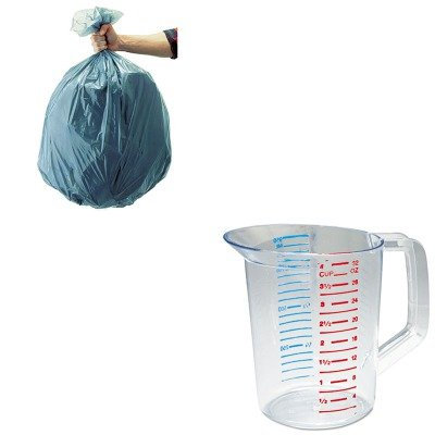 KITRCP3216CLERCP501188GRA - Value Kit - Rubbermaid-Clear Bouncer Measuring Cups 1 Quart (RCP3216CLE) and Rubbermaid 5011-88 Tuffmade Polyliner Low-Density Can Liners, 55 Gallons (1 Quart Bouncer)