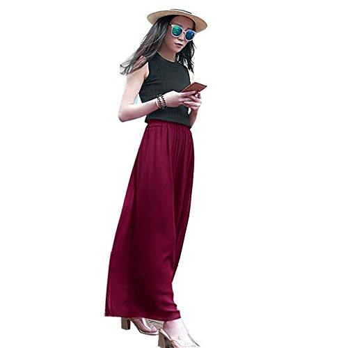 Larghi Pantaloni Style Elastico Harem Whiterot Festa Con Accogliente Baggy Colore Tulle Puro Casual Donna Pants Coulisse Lunga Estivi Pantaloni Chiffon Moda Ragazze c1X4xqYv