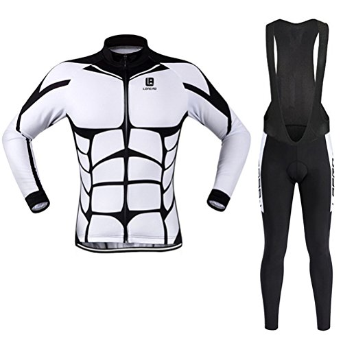 Men's Cycling Long Sleeve Zip With 4D-Padded Breathable Cool Quick Dry Jersey Suit Cloth Winter Set