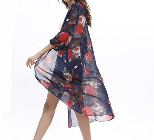 JAKY GLOBAL Women Flowy Sheer Long Chiffon Kimono Cardigan Swimsuit Beach Cover Up(8013-Blue)