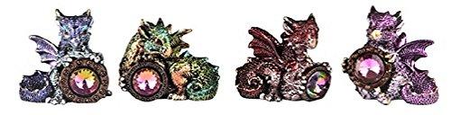 George S Chen 4 Pc. Dragon set With Jewel Metallic Miniature Figurine (Green, Blue, Red, And Purple) 71669