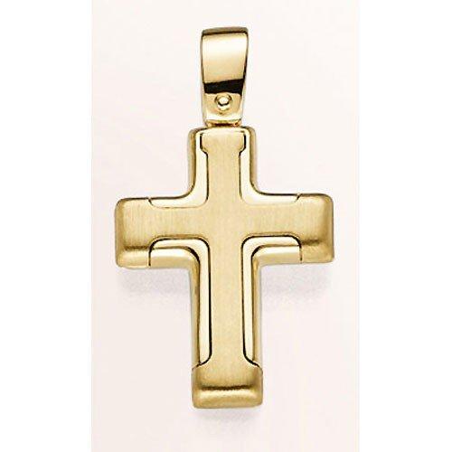 Pendentif croix en or jaune 585 goldanhänger poli pour femme