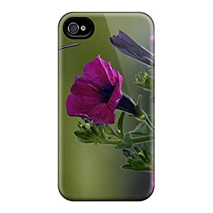 Premium Durable Bird Purple Flowers Fashion Tpu Iphone 4/4s Protective Case Cover