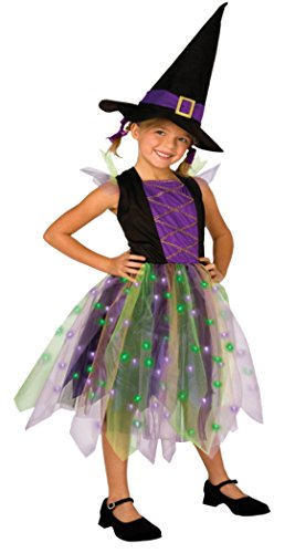 [Girls Light Up Rainbow Witch Kids Child Fancy Dress Party Halloween Costume, L (12-14)] (Girls Light Up Witch Costume)