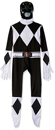 Morphsuits Kids Official Power Ranger Costume, Black, - size Large 4'-4'6 (120cm-137cm)