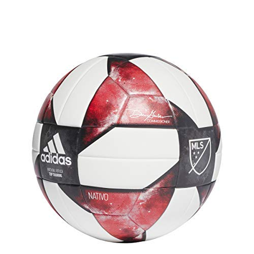 Soccer Adidas Ball Red (adidas MLS Top Training Soccer Ball White/Black/Active Red, 5)