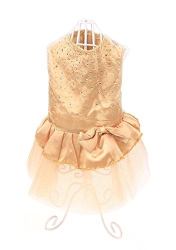 Freerun Pet Princess Bow Lace Dog Tutu Dress Bubble Skirt Pet Clothes Cat Puppy Costume - Gold, S