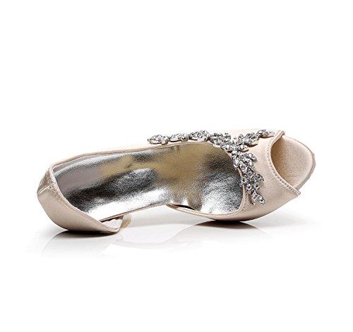 Minitoo - Zapatos con tacón mujer, color marrón, talla 43 EU