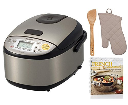 Zojirushi NS-LGC05 Micom Rice Cooker & Warmer + Free Cookbook, Bamboo Spatula and Oven Mitt For Sale