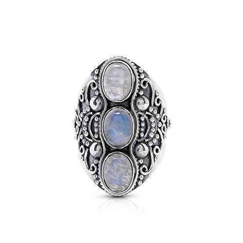 - Koral Jewelry Moonstone 3 Stones Ethnic Vintge Look Multi Stone Ring 925 Sterling Silver Vintage Tribal Gipsy Boho Chic (7)