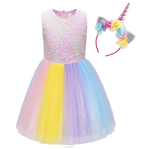 Flower Unicorn Headband Girls Sequin Top Tutu Skirt Birthday Wedding Formal Clothes Bow Party Dress Cosplay Princess #R Sequin Rainbow+Headband 2-3 Years ()
