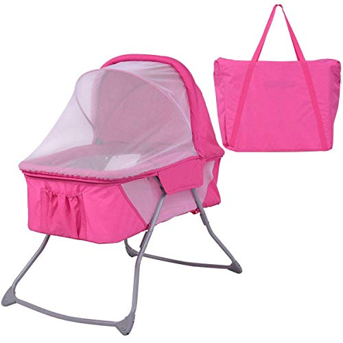 Costzon Baby Bassinet, Foldable Rocking Bed with Mosquito Net & Carrying Bag (Pink) ()