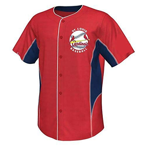 Majestic St Louis Cardinals Youth Small (8) Buttom Up Front Jersey Shirt - Red & Navy