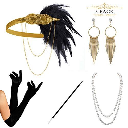 HAMIST 1920s Accessories Set Flapper Costume for Women Headband Gloves Cigarette Holder Necklace (gold2)