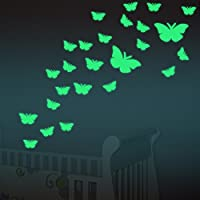 Amaonm® 12 PCS Removable Glow In The Dark Green Butterfly...