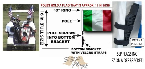 ITALY Golf Cart Flag with SSP Flags EZ On & Off Bracket
