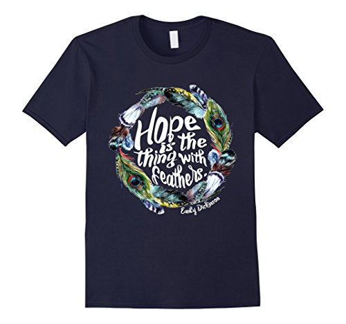Feathers Adult T-shirt (Men's Hope is the thing with feathers T Shirt Em Dickinson XL Navy)