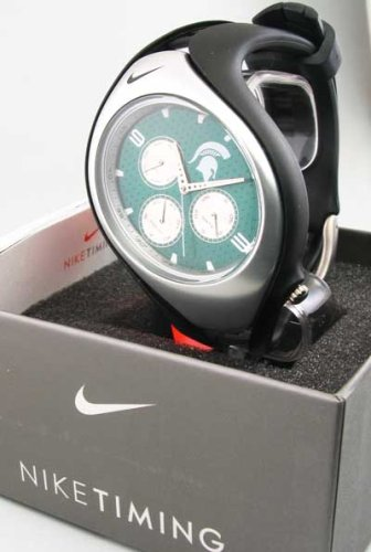 Nike Triax Swift 3i Analog NCAA Michigan State University Team Watch - Black/Gorge Green - WD0100-009 by NIKE