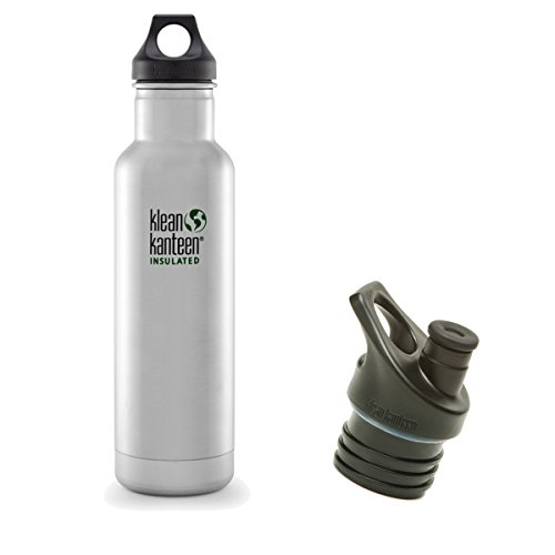 Klean Kanteen Classic Insulated Bottle Bundle with 2 Caps (Brushed Stainless, 20oz with 2 Caps) Bottle Bundle