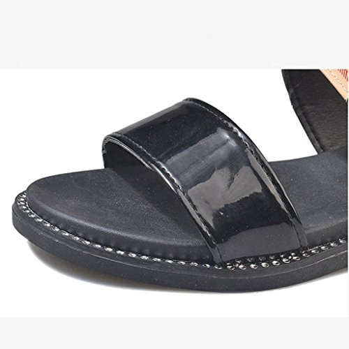 Forme Ouvert Glissade Sandale Sandales Summer Beach Semelle Glissière Plate Slide Boucle Noir Plate Orteil sur Femmes JRenok SnYwPfx