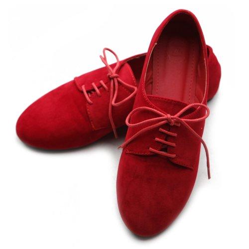 Ballerine Ollio Ballerine Scarpe Stringate In Finta Pelle Scamosciata Rosso