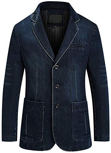 chouyatou Men's Classic Notched Collar 3 Button Tailoring Distressed Denim Blazer Jacket (Medium, Dark Blue)