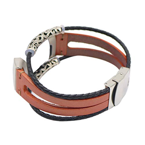-  Orcbee  _Replacement Leather Wristband Band Strap Bracelet for Fitbit Charge 3 (Brown)