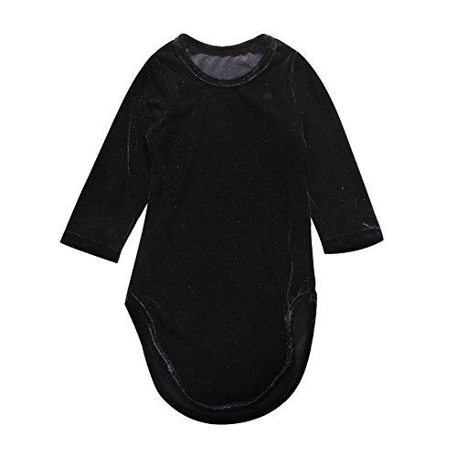 (Kids Toddler Baby Girl Long Sleeve Velvet Mermaid Dress Fall Clothes 2-7Y (Black, 3-4)