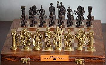 Shoro Hand Crafted Roman Brass Chess Set with Wooden Board