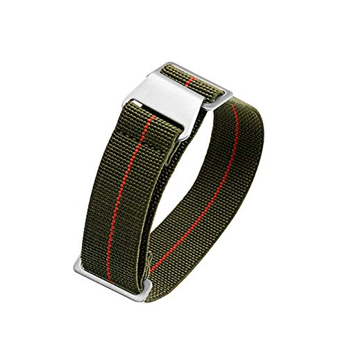 60's French Troops Parachute Special Elastic Nylon Watch Band Man's Universal Nylon Strap Army-Green 20/21/22mm (22 mm, Green with Red)