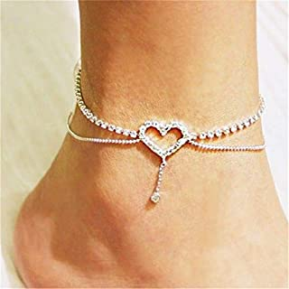 Sperrins Heart Pattern Crystal Anklet Women Simple Rhinestone Anklet Foot Accessories (Color 2)