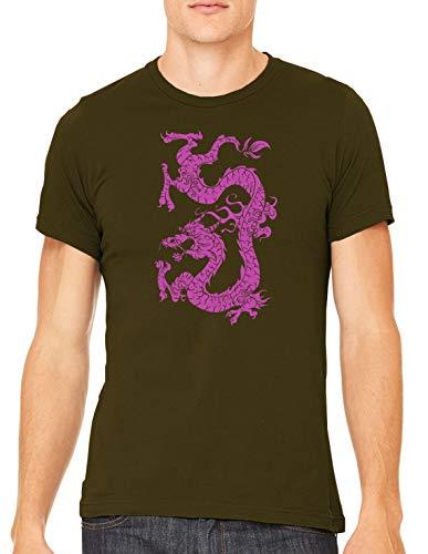 Austin Ink Apparel Pink Dragon Tattoo Unisex Premium Crewneck Printed T-Shirt Tee