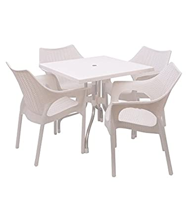 Supreme Outdoor Set (4 Cambridge Chair + 1 Olive Table) White