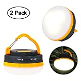 VANDESAIL LED Camping Lantern Emergence Flashlights AAA Hiking Light with Hook (Need 3A Battery, 2 Pack)