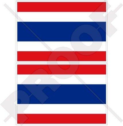 "THAILAND Flag, Thai SIAM Siamese 3"" (75mm) Vinyl Bumper Stickers, Decals x2"