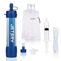 Persönlicher Wasserfilter Stroh-Überlebensvorrichtung Ausrüstung, JETERY Portable 1500L Luftreiniger für Outdoor, Campen und Wandern, 0.01 Mikron Trink-Filtrationssystem