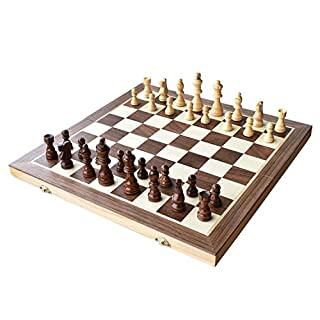 "Chess Set, 15""x15"" Folding Magnetic Wooden Standard Chess Game Board Set with Wooden Crafted Pieces and Chessmen Storage Slots"