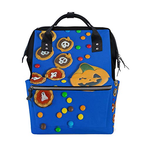 LALATOP Halloween Gingerbread and Biscuits Printing Diaper Bag Backpack Travel Mummy Nappy Bags, Large Capacity and Multi-Function Stylish and Durable Nursing Bag ()